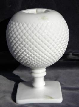 English hobnail vintage Westmoreland milk glass ivy ball flower pot