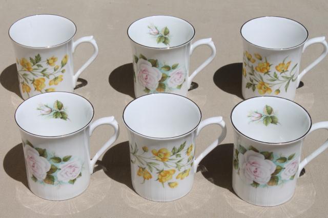 English Tea Mugs Vintage Royal Minster Fine Bone China Flowered