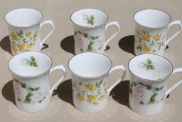 English tea mugs, vintage Royal Minster fine bone china flowered coffee cups set of 6