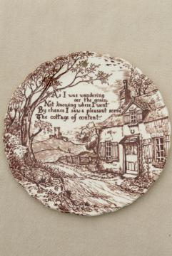 English thatched Cottage of Content wall hanging plate, vintage Staffordshire china