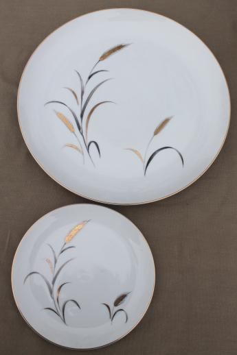Eternal Harvest gold wheat dinner plates & bread plates for 12, vintage made in Japan fine china