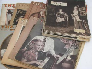 Etude music magazines, lot of 20 issues, vintage 1940s & 50s