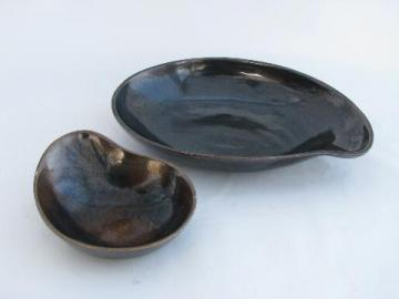 Eva Zeisel vintage Red Wing Town and Country pottery, gunmetal metallic, organic shape bowls
