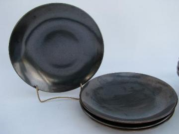 Eva Zeisel vintage Red Wing Town and Country pottery, lot 4 dinner plates, gunmetal