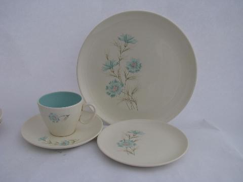 Ever Yours Aqua Blue Cornflower Floral Dishes For 4 1960s