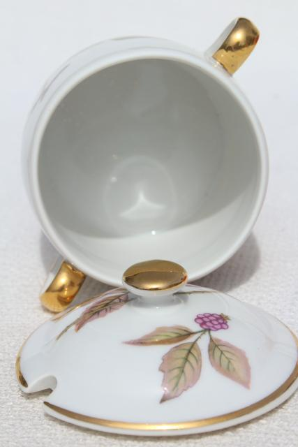 Evesham Royal Worcester china jam pot, vintage fruit pattern marmalade jar w/ lid