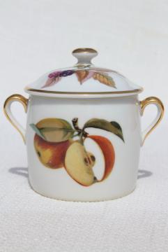 Evesham Royal Worcester china jam pot, vintage fruit pattern marmalade jar w/ lid