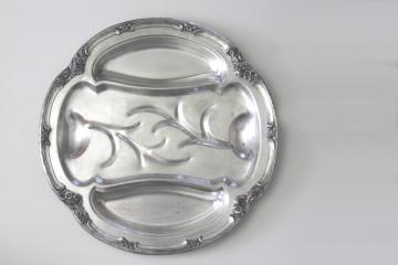 F B Rogers 1880s vintage silver on copper meat tray, round platter w/ drippings well
