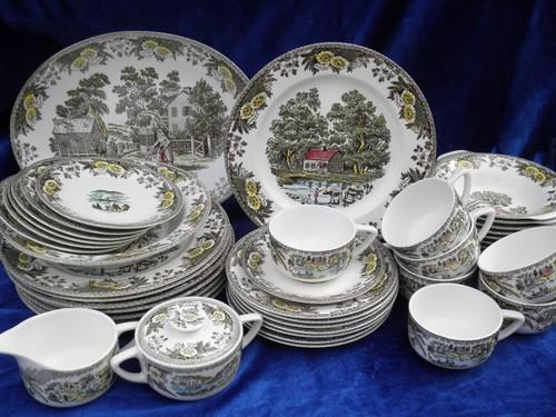 & Fair Oaks colored transferware dishes vintage Royal china dinnerware