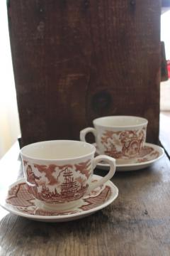 Fair Winds Alfred Meakin china tea cups and saucers w/ tall ships historic scenes
