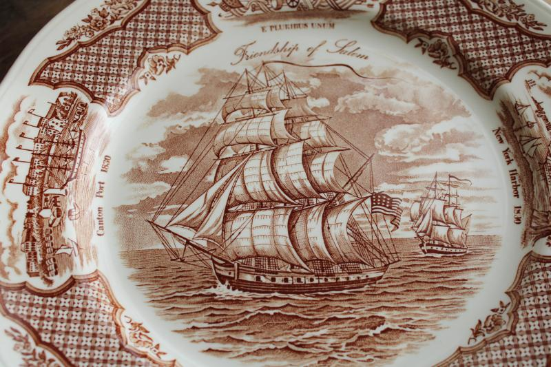 Fair Winds tall ships sailing, vintage brown transferware china dinner plates set of 12
