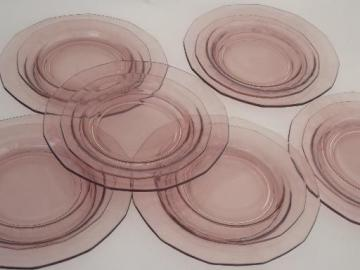 Fairfax Fostoria orchid purple glass plates, salad and bread plates set