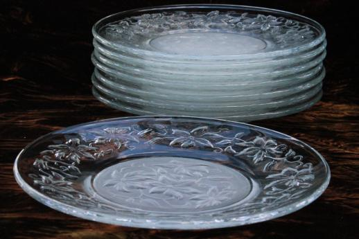 & Fantasia Princess House crystal unused set of 8 glass luncheon plates
