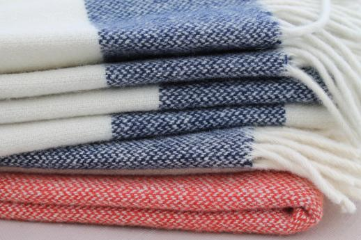 Faribault wool camp blanket throws, fringed wool blankets in cream white, red & blue