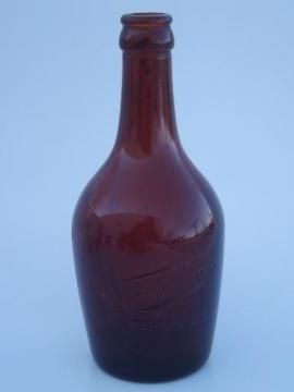 Fauerbach brewing Madison Wisconsin old embossed amber glass beer bottle