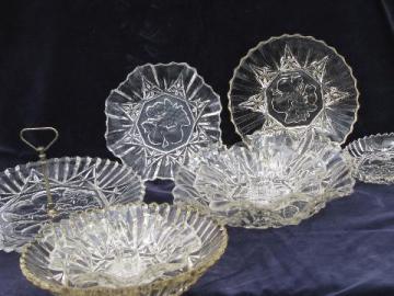 Federal Pioneer fruit pattern pressed glass, vintage serving pieces lot