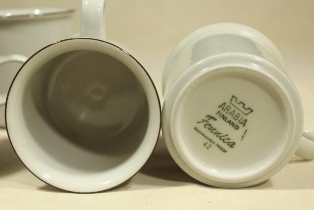 Fennica Arabia Finland vintage stoneware pottery mugs, tan brown band coffee cups