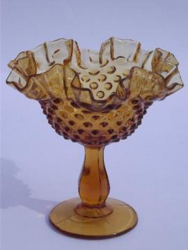 Fenton amber hobnail glass candy dish, crimped ruffled compote bowl