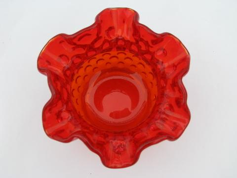 Fenton Hobnail Ruffled Edge Vintage Glass Vase Retro Orange Color