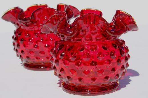Fenton Ruby Red Hobnail Glass Mini Vase Set Pair Of Round Crimped Vases
