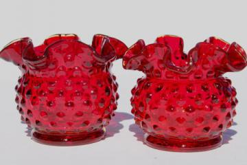 Fenton ruby red hobnail glass mini vase set, pair of round crimped vases