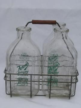 Fern's Rockford Jersey dairy advertising vintage glass milk bottles, old wire bottle carrier