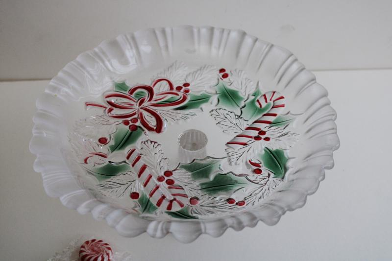 Festive Wreath Mikasa Christmas candy canes glass dish, footed bonbon or tiny cake plate