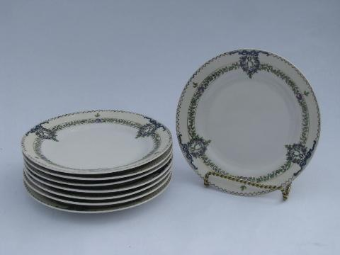 Field china vintage Japan lavender roses garland border porcelain cake plates