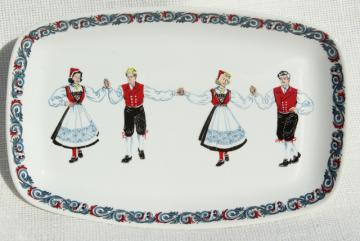 Figgjo Flint Norwegian folk costume Hardanger dancers, vintage ceramic platter or tray