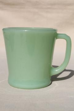 Fire King Jadeite jadite green glass coffee mug, 1940s vintage coffee cup