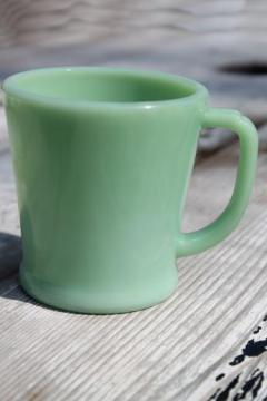 Fire-King jadeite glass coffee mug, authentic vintage jadite glass cup