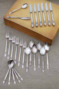 First Love 1847 Rogers Bros silver plate flatware, vintage silverware in box