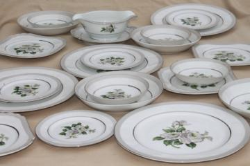 First Love vintage Japan fine china set for four, white roses / pale grey border