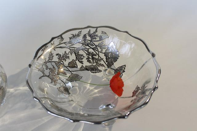 Flanders poppy silver decorated glass bowl ivy ball vase, vintage silver overlay glass