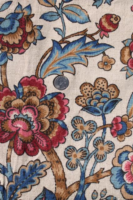 Flanders Vintage Waverly Fabric Jacobean Tapestry Fl Print On Flax Color Linen Weave