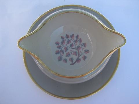 Flintridge china Miramar shape gravy or sauce bowl w/ attached underplate