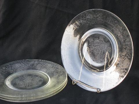 Florentine pattern vintage depression glass dinner plates clear Hazel Atlas & Florentine pattern vintage depression glass dinner plates clear ...
