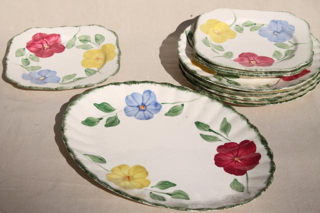 Flower Ring hand painted vintage Blue Ridge china Southern Pottery plates u0026 platter & Flower Ring hand painted vintage Blue Ridge china Southern Pottery ...