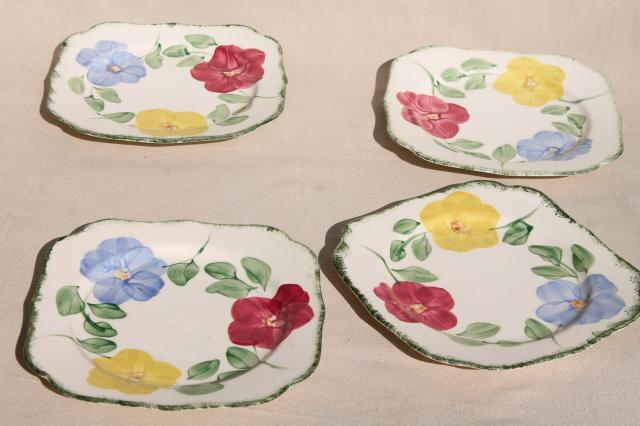 Flower Ring hand painted vintage Blue Ridge china Southern Pottery plates & platter