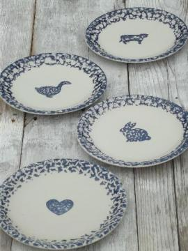 Folk Craft spongeware pottery, blue sponge hearts & animals dinner plates