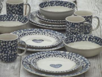 Folkcraft hearts spongeware pottery, Tienshan china dishes set for 4