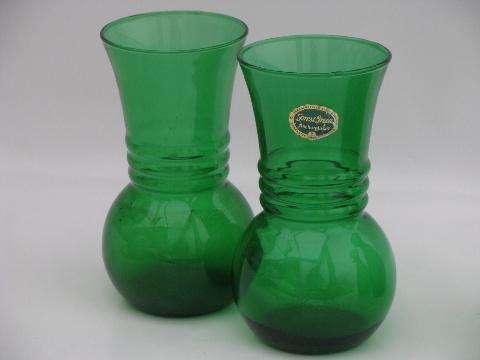 Forest Green Anchor Hocking Label Two Pairs Of Vintage Glass Vases