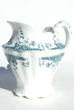 Forget-Me-Not blue green transferware china pitcher, W Dean English semi porcelain ironstone