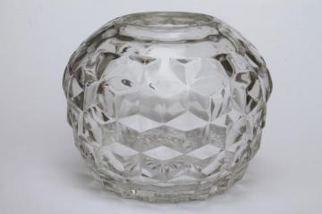 Fostoria American / Whitehall cube pattern glass, vintage rose bowl, ivy ball or candle lamp