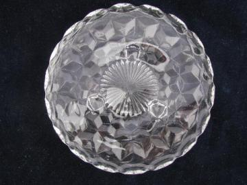 Fostoria American cube pattern glass, footed bon-bon plate candy dish