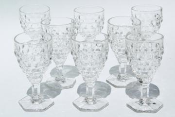 Fostoria American cube pattern pressed glass wine glasses, crystal clear vintage stemware