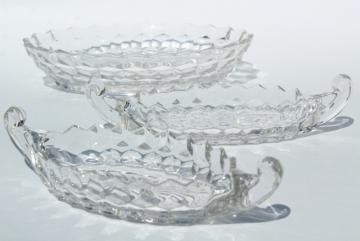 Fostoria American oval dish or flower bowl & pair of gondola boat relish trays