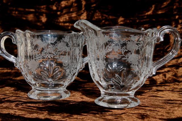 Fostoria Baroque Chintz Etch Vintage Elegant Glass Crystal