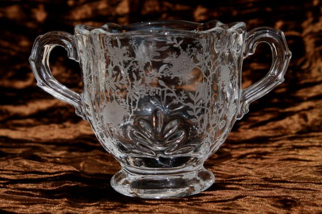 Fostoria baroque chintz etch vintage elegant glass crystal for Clear baroque glass