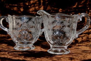 Fostoria Baroque Chintz etch vintage elegant glass crystal clear cream & sugar set